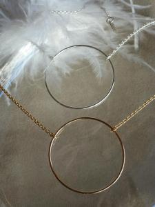 Collier grand anneau argent ou plaqué or
